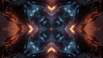 lumières bleues, orange et blanches et formes kaléidoscope illustration 3d pour le fond ou le papier peint photo