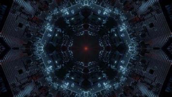 lumières bleues, rouges et blanches et formes kaléidoscope illustration 3d pour le fond ou le papier peint photo