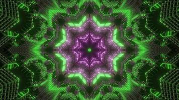 lumières vertes, violettes et blanches et formes illustration 3d kaléidoscope pour le fond ou le papier peint