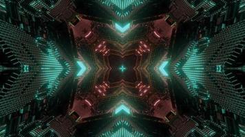 lumières vertes, brunes et blanches et formes kaléidoscope illustration 3d pour fond ou papier peint photo