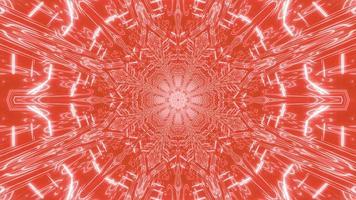 lumières rouges, orange et blanches et formes kaléidoscope illustration 3d pour le fond ou le papier peint