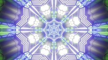 lumières bleues, violettes, vertes et blanches et formes illustration 3d kaléidoscope pour fond ou fond d'écran