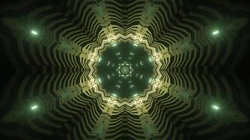 Conception d'illustration 3d kaléidoscope vert et jaune pour le fond ou le papier peint photo