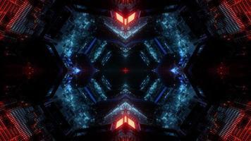 Conception d'illustration 3d kaléidoscope bleu, rouge et orange pour le fond ou le papier peint photo