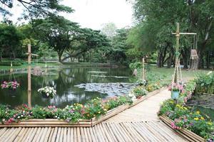 pont sur étang photo