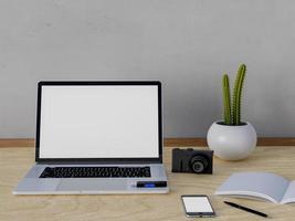 maquette d'espace de travail avec ordinateur portable et ordinateur portable photo