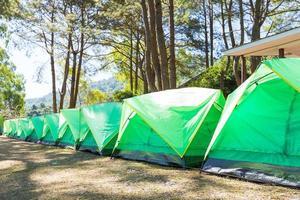 tentes vertes sur la pelouse en thaïlande photo