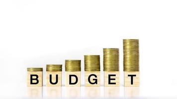 Une pile croissante d'étapes sur un bloc en bois étiqueté budget sur fond blanc, idée de budget d'investissement et budget annuel