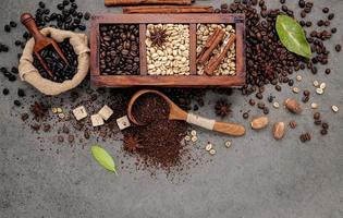 café dans une boîte en bois photo
