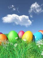 Oeufs de Pâques 3D nichés dans l'herbe photo