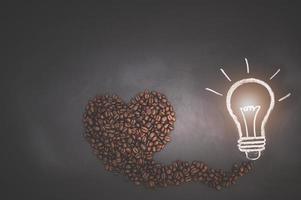 grains de café et doodle ampoule
