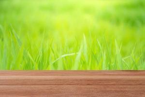 Table en bois avec fond de verdure floue pour l'affichage photo