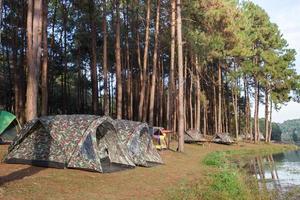 tentes de camping avec des arbres pendant la journée photo