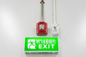 alarme de protection incendie et panneau de sortie de secours