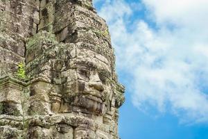 Visages de pierre antiques au temple du Bayon, Angkor Wat, Siam Reap, Cambodge