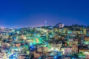 Paysage urbain du centre-ville d'Amman au crépuscule, Jordanie