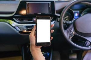 vue de face du smartphone moderne avec écran blanc photo