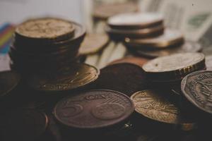 Pièces de monnaie en euros close-up photo