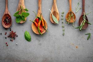 Diverses épices et herbes dans des cuillères en bois sur béton