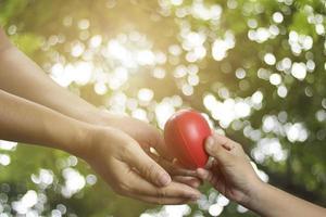 jeune enfant donne un coeur rouge à sa mère
