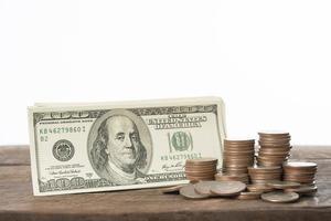 gros plan, de, dollars, et, pièces, pour, change devise, blanc, fond