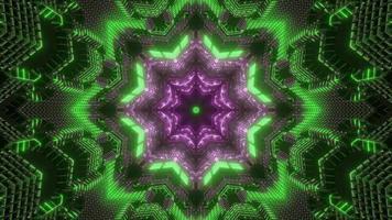 Illustration de conception kaléidoscope 3d vert et violet pour le fond ou la texture photo
