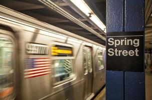Rame de métro en mouvement avec une plaque de rue de printemps à New York City