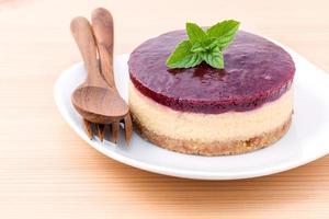 Cheesecake aux myrtilles et à la menthe