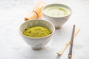 poudre de thé vert matcha photo
