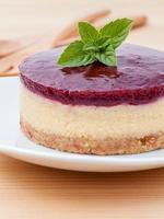 Cheesecake aux myrtilles et menthe fraîche