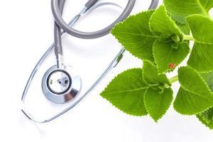 stéthoscope et feuilles vertes sur fond blanc photo