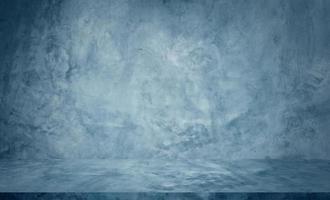 fond de studio de table de ciment bleu photo