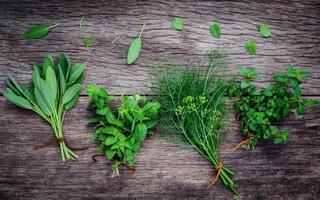 Diverses herbes aromatiques sur fond de bois ancien photo
