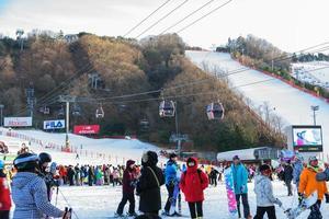 Les gens qui marchent et jouent sur la neige avec des tramways à ski en arrière-plan à Vivaldi Park Ski World en Corée photo