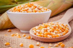 gros plan de maïs dans un bol et sur une cuillère photo