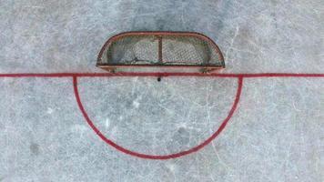 portes de hockey avant le match, vue aérienne photo