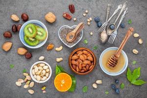 vue de dessus des ingrédients sains