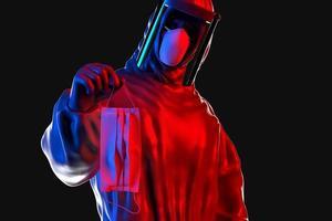 Portrait 3d gros plan d'un homme portant un masque protecteur jetable