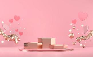 Podium de la Saint-Valentin avec maquette d'affichage de produit de décoration coeur rendu 3d