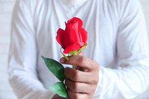 homme tenant une rose rouge