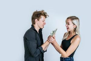 heureux, couple, projection, billets dollar