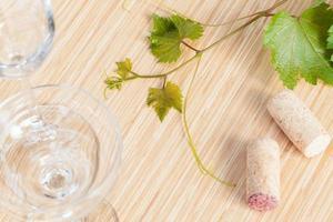 lierre avec des bouchons de vin et des verres