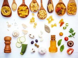 vue de dessus du concept de cuisine italienne photo
