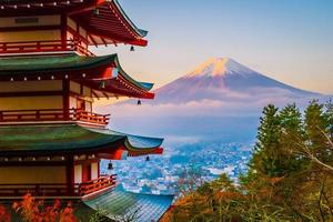 beau paysage de mt. Fuji avec pagode Chureito, Japon photo
