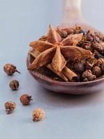 épices, y compris l'anis étoilé dans une cuillère photo
