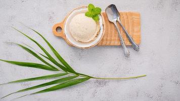 glace à la noix de coco et feuille de palmier photo