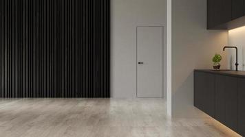 Intérieur d'un salon moderne vide en rendu 3d photo