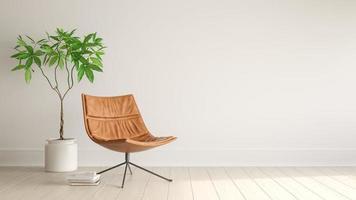 Intérieur d'un salon moderne avec une chaise en rendu 3d photo