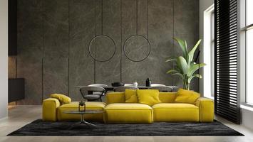 intérieur minimaliste d'un salon moderne en illustration 3d photo
