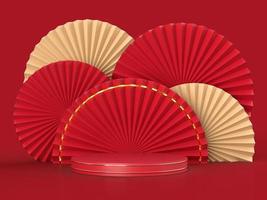 fan de papier médaillon 3d pour le nouvel an chinois avec podium photo